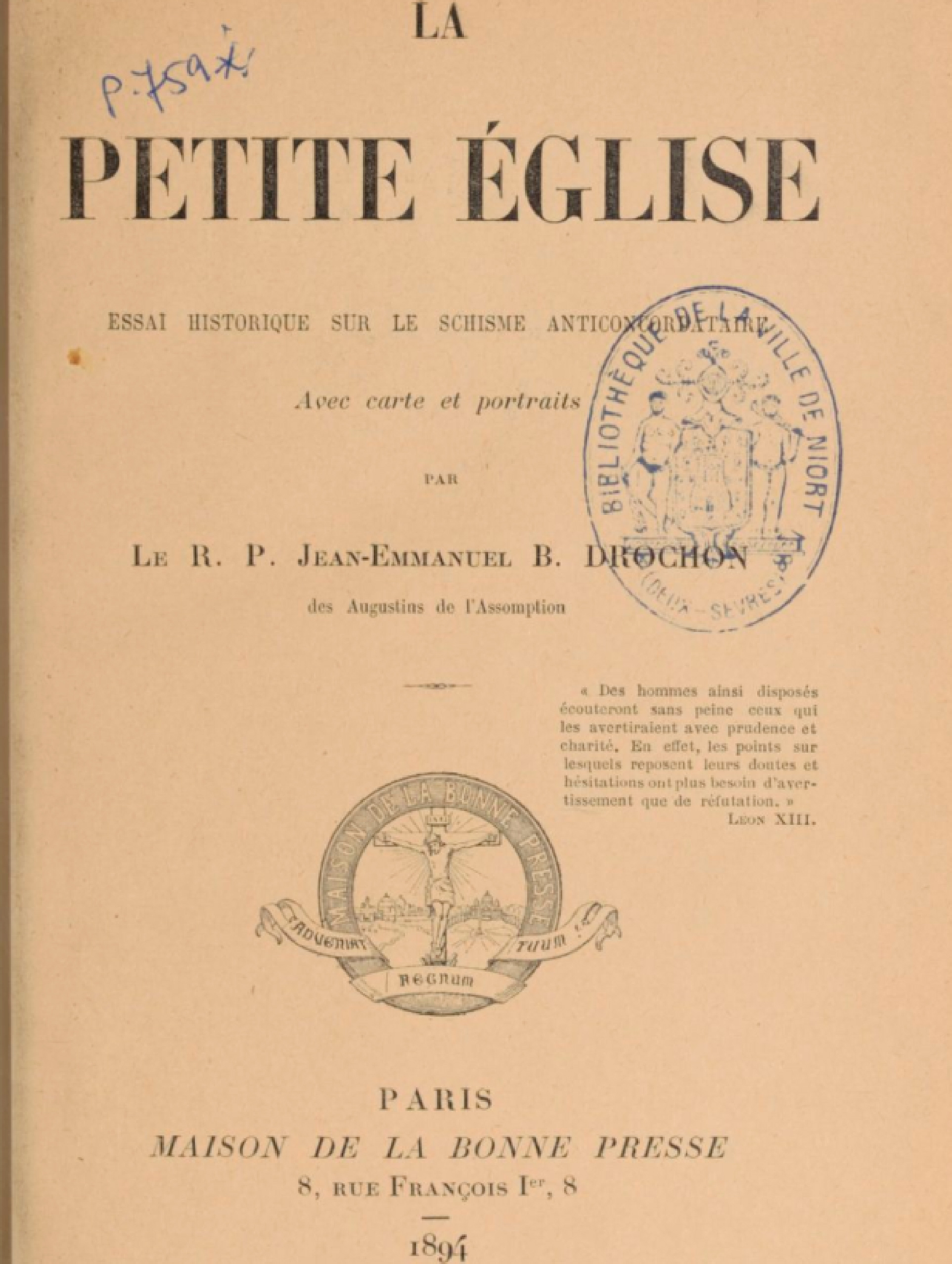 La PETITE-ÉGLISE (Mi-ca-El/Fazilleau/Demaris) CONDAMNÉE par l'ÉGLISE La-petite--glise-...verture--55c1257