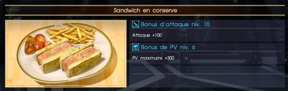 Final Fantasy XV sandwich en conserve