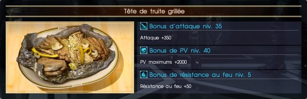 Final Fantasy XV tête de truite grillée