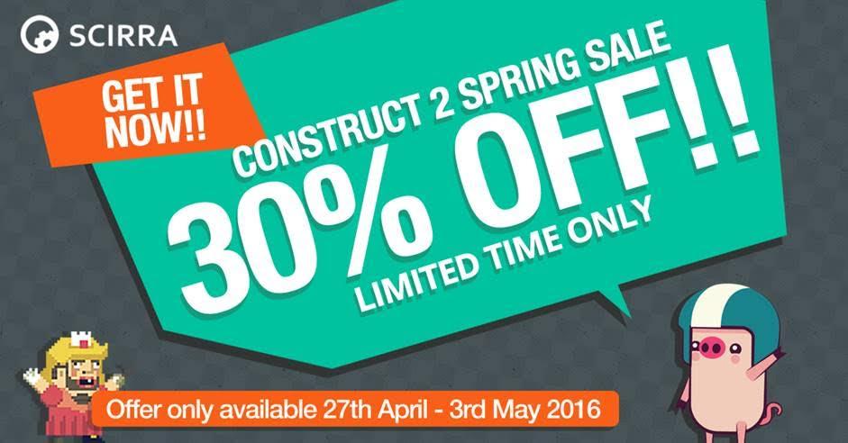 30% Descuento en Construct 2 hasta el 3 de Mayo 30descuento-4f362e0