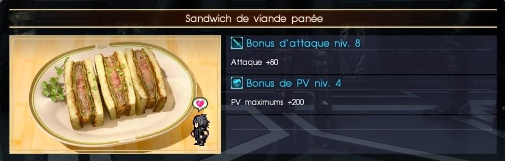 Final Fantasy XV sandwich de viande panée