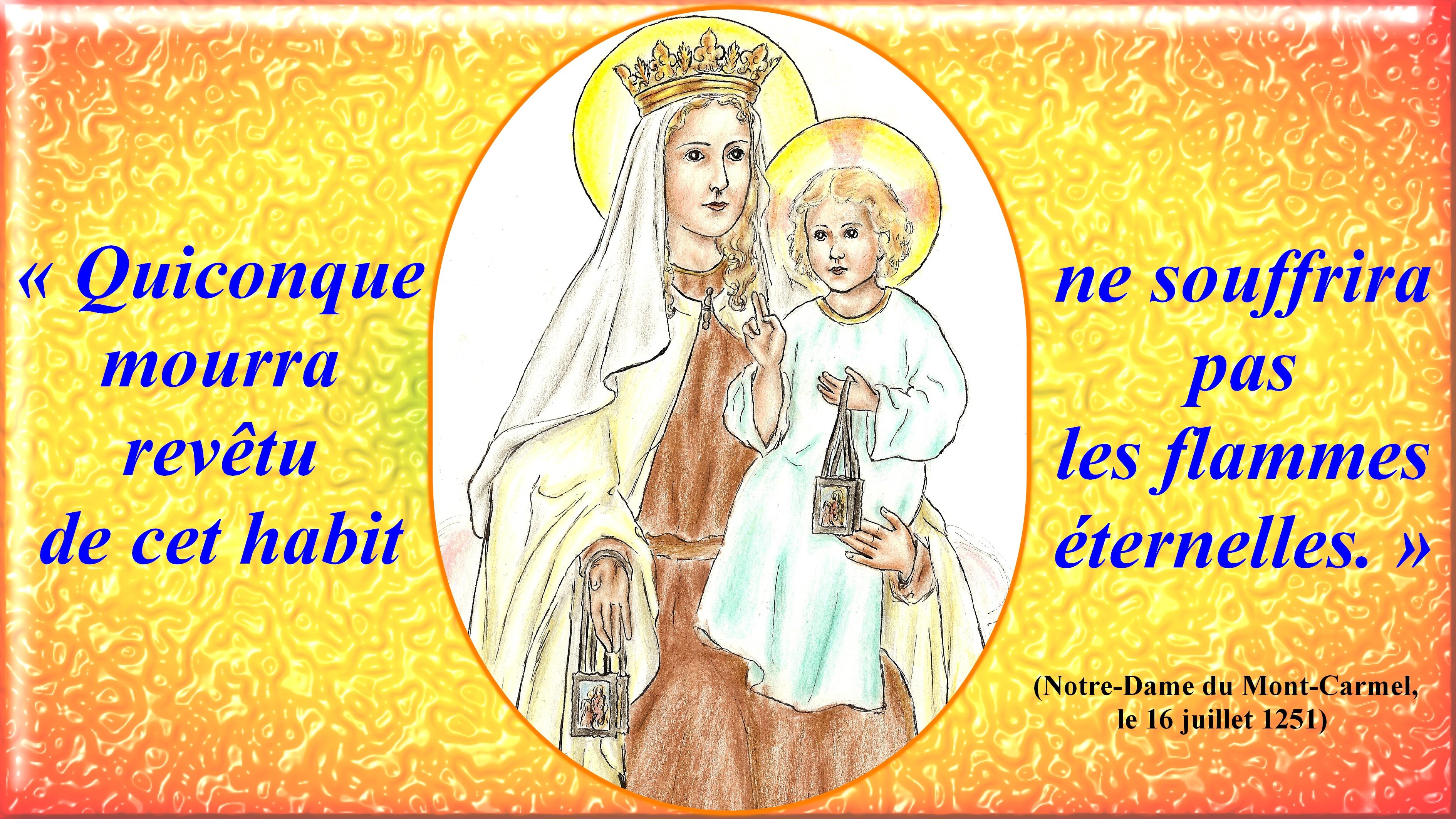CALENDRIER CATHOLIQUE 2019 (Cantiques, Prières & Images) Notre-dame-du-mont-carmel-557d4b2