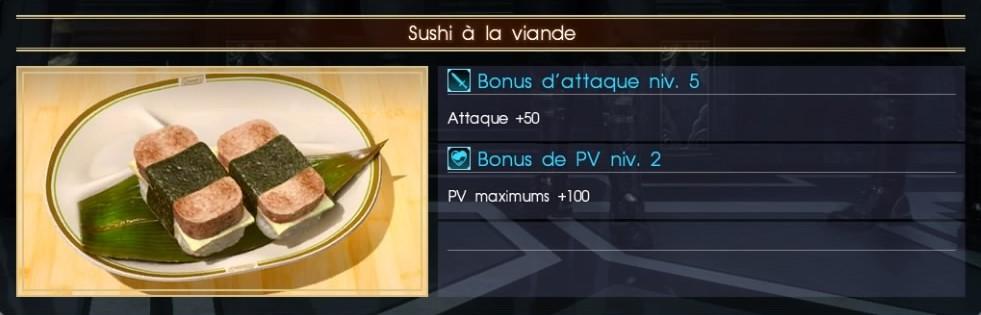 Final Fantasy XV sushi à la viande