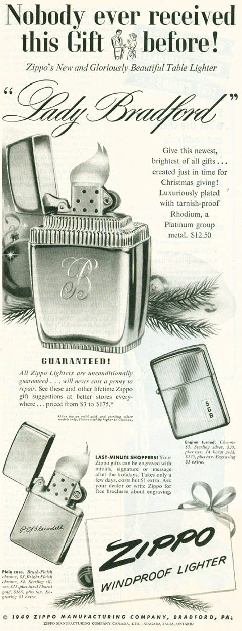 [Datation] Les Zippo Table Lighter 1949---lady-bradf...ublicit--5268943