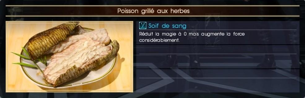 Final Fantasy XV poisson grillé aux herbes