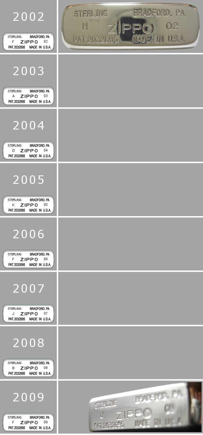 silver - [Datation] Les Zippo Sterling Silver 2002-2009-523e2de