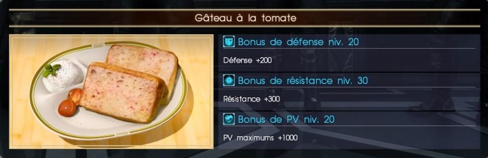 Final Fantasy XV gâteau à la tomate