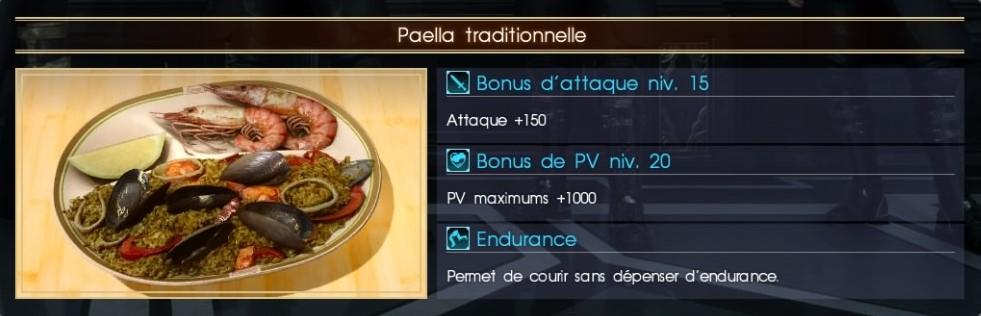 Final Fantasy XV paella traditionnelle