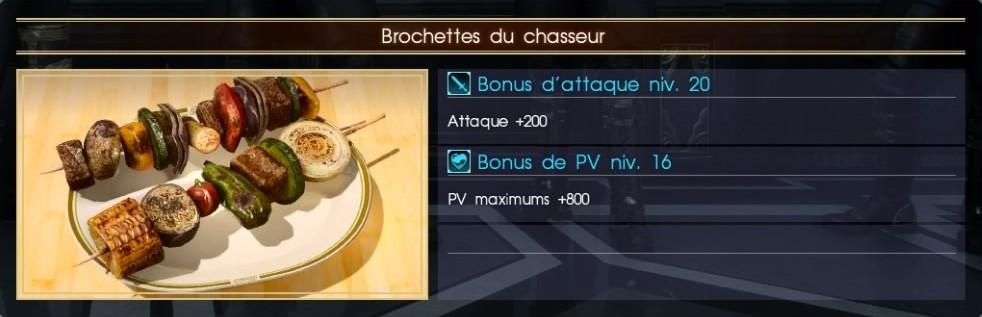 Final Fantasy XV brochettes du chasseur