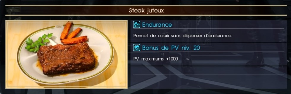 Final Fantasy XV steak juteux