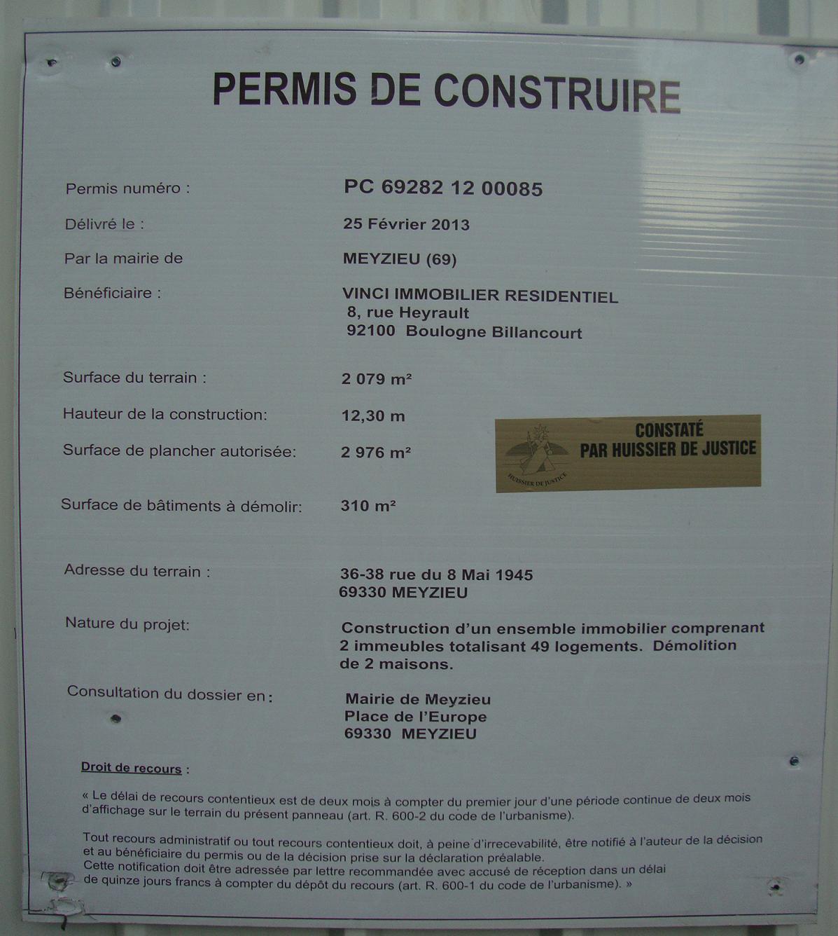 Meyzieu skyscrapercity for Agrandissement fenetre permis de construire