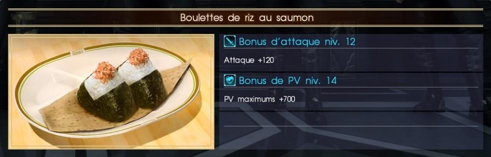 Final Fantasy XV boulettes de riz au saumon