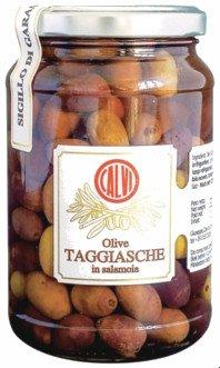 Tarro de cristal con aceitunas Taggiasca (olive Taggiasche),