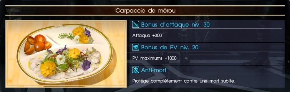 Final Fantasy XV carpaccio de mérou