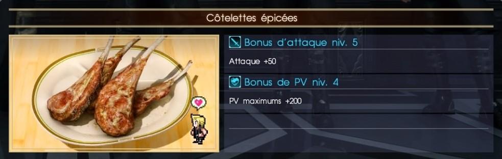 Final Fantasy XV côtelettes épicées