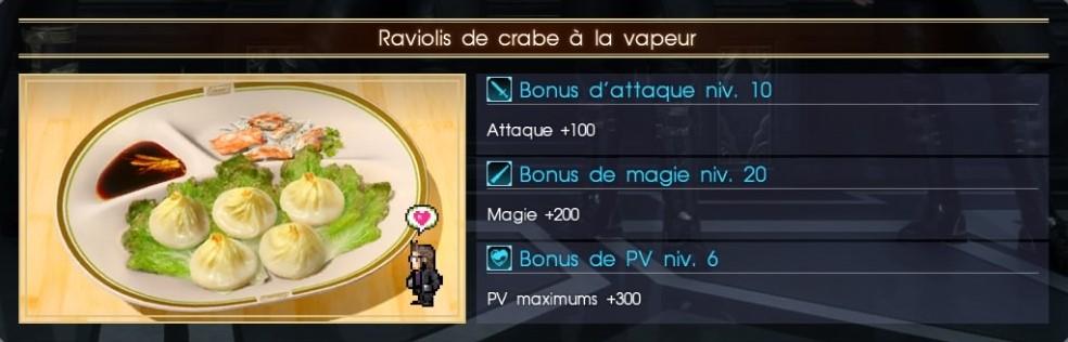 Final Fantasy XV raviolis au crabe à la vapeur