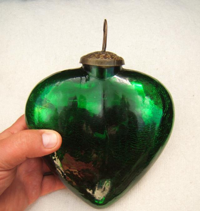 Ancienne grosse boule de no l de pardon en forme de coeur verre souffl xix me ebay - Boule de noel en verre ancienne ...