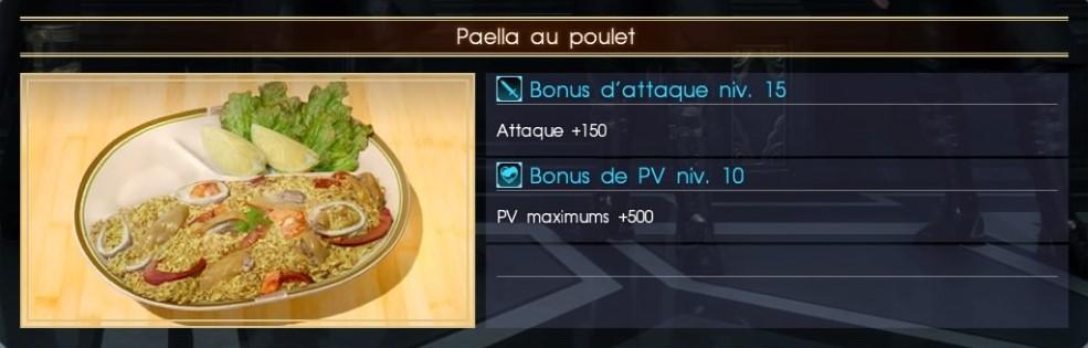 Final Fantasy XV paella au poulet