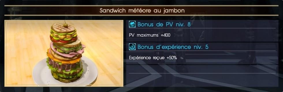 Final Fantasy XV sandwich météore au jambon