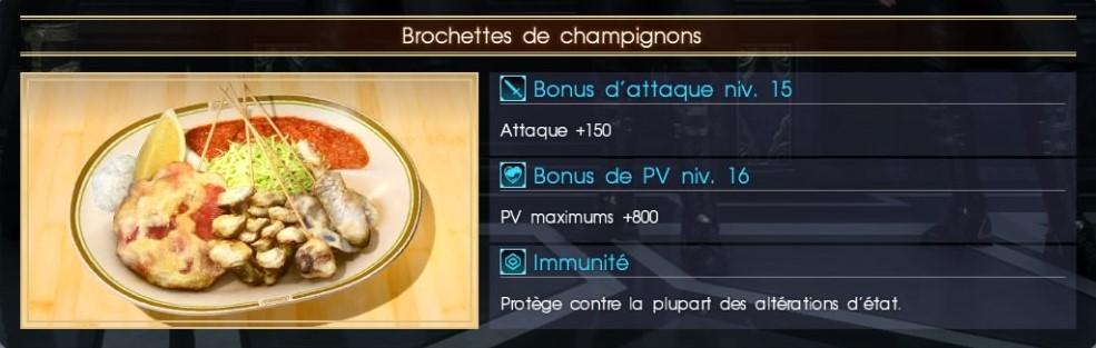 Final Fantasy XV brochettes de champignons