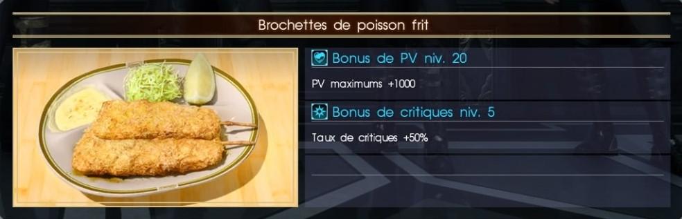 Final Fantasy XV brochettes de poissons frit
