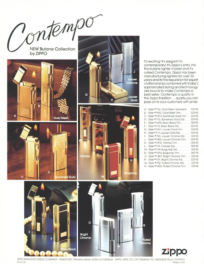 [Datation] Les Zippo Contempo (briquets à gaz butane) Publicite-contempo-1985-525f77e