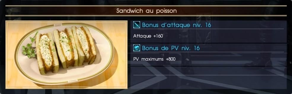 Final Fantasy XV sandwich au poisson