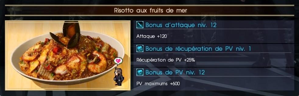 Final Fantasy XV risotto aux fruits de mer