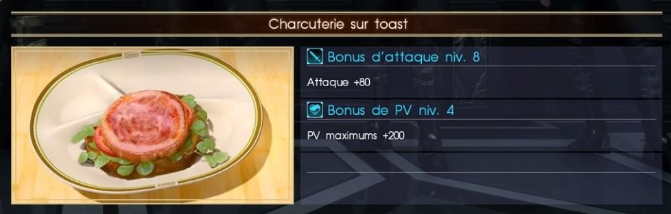 Final Fantasy XV charcuterie sur toast