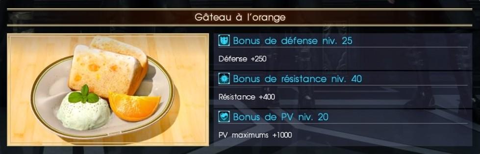 Final Fantasy XV gâteau à l'orange