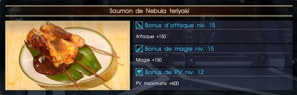 Final Fantasy XV saumon de nebula teriyaki