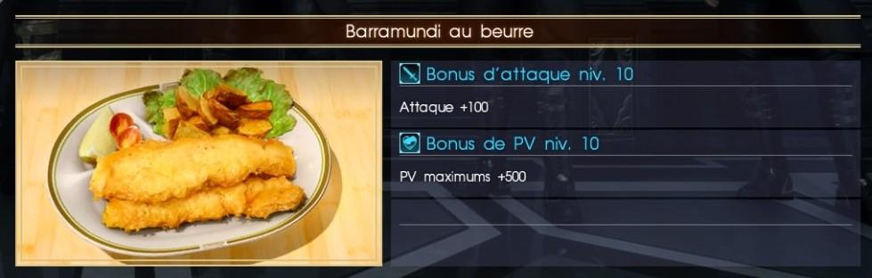 Final Fantasy XV barramundi au beurre