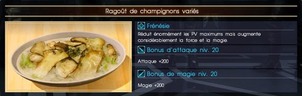 Final Fantasy XV ragoût de champignons variés