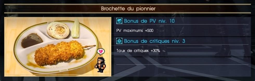 Final Fantasy XV brochette du pionnier