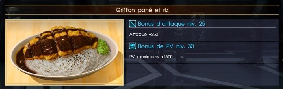 Final Fantasy XV griffon pané et riz