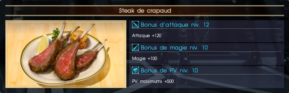 Final Fantasy XV steak de crapaud