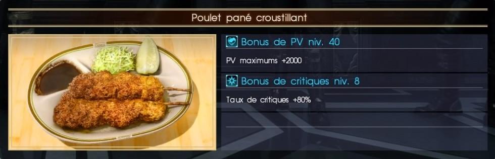 Final Fantasy XV poulet pané croustillant