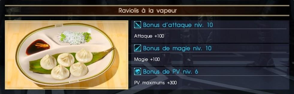 Final Fantasy XV raviolis à la vapeur