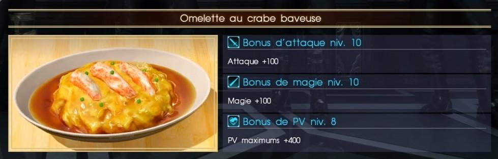 Final Fantasy XV omelette au crabe baveuse