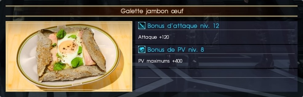 Final Fantasy XV galette jambon oeuf