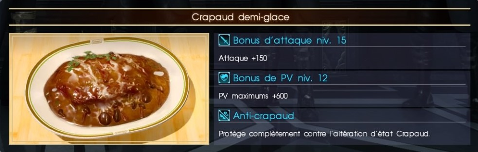 Final Fantasy XV crapaud demi-glace