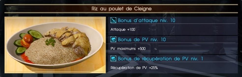 Final Fantasy XV riz au poulet de cleigne
