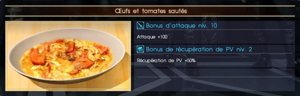 Final Fantasy XV oeufs et tomates sautés