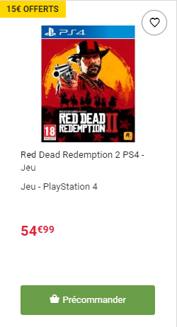 Red Dead Redemption 2 bon plan fnac