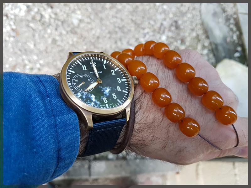Nav B-Uhr 47 Handaufzug, Bronze Bleu-5201a2b