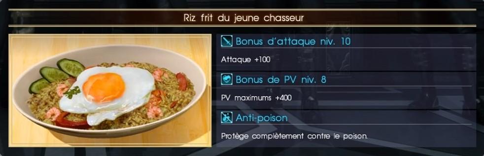Final Fantasy XV riz frit du jeune chasseur