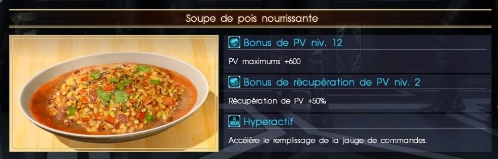 Final Fantasy XV soupe de pois nourrissante