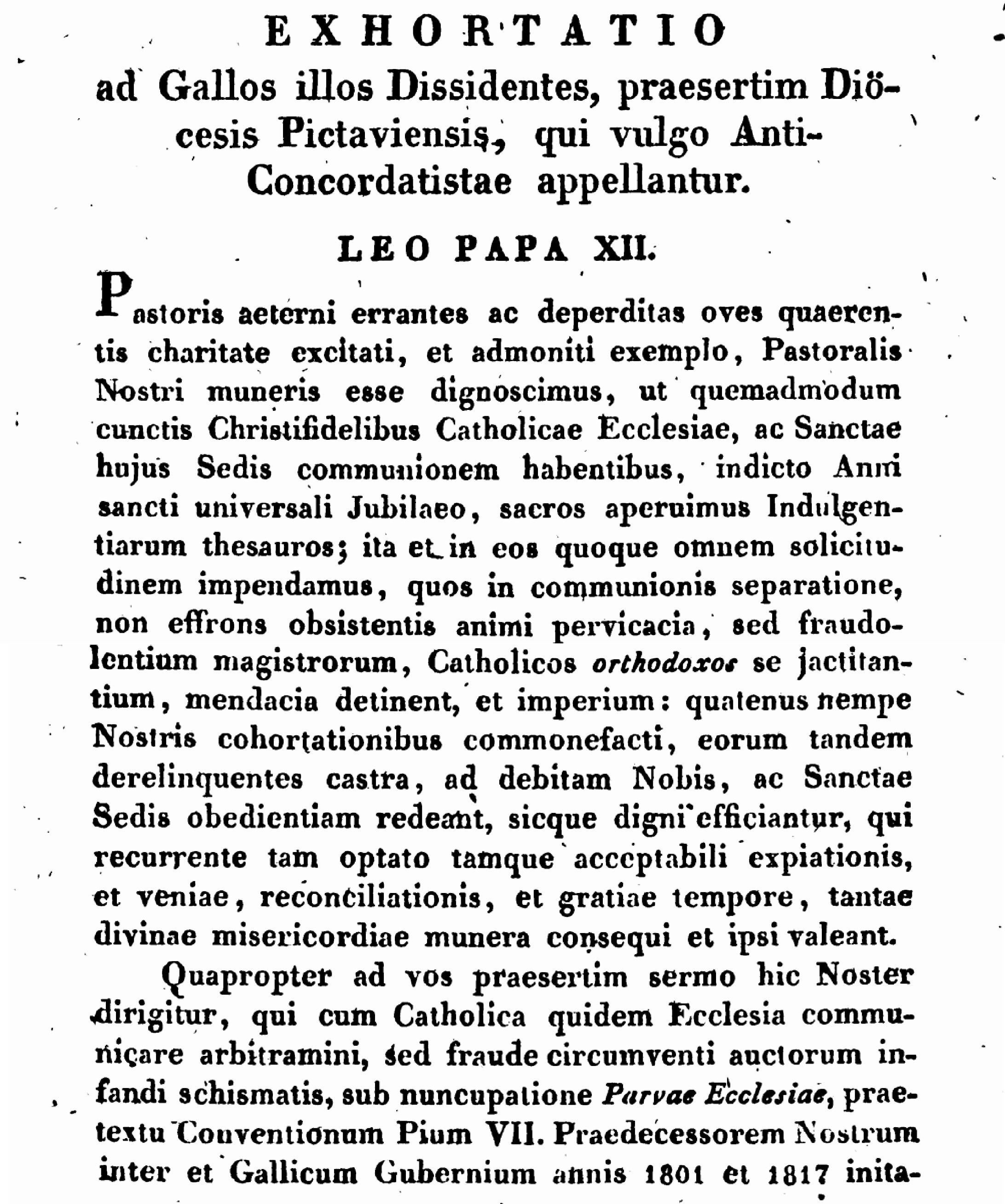 """Exhortation """"PASTORIS ÆTERNI"""" aux Dissidents anticoncordataires de la PETITE-ÉGLISE (2/7/1826) Léon XII Exhortation-pasto...n-xii-1--55d4fb0"""