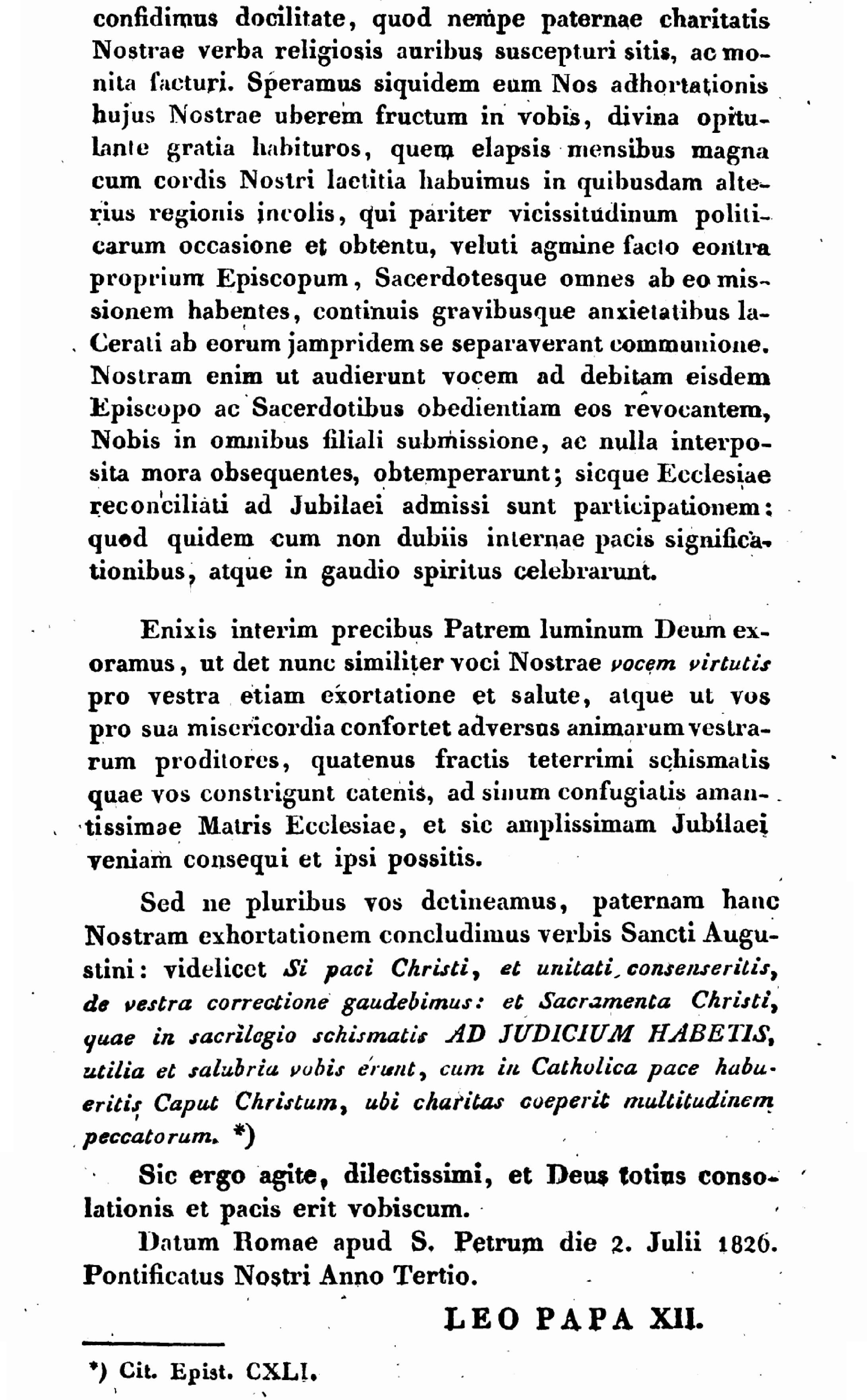 """Exhortation """"PASTORIS ÆTERNI"""" aux Dissidents anticoncordataires de la PETITE-ÉGLISE (2/7/1826) Léon XII Exhortation-pasto...-xii-10--55d6296"""